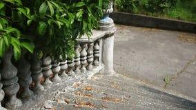 葡萄酒栏杆的支 老宫殿的楼梯 股票视频
