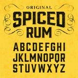 葡萄酒样式与范例设计的标签字体 库存图片