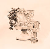 葡萄酒样式基石在钢笔画的手拉的剪影的生活艺术在棕色乌贼属音色 库存照片