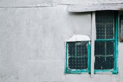葡萄酒样式墙壁和玻璃窗在香港 图库摄影