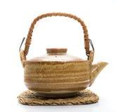 葡萄酒样式布朗陶瓷茶壶 免版税库存照片