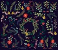 葡萄酒样式手拉的圣诞节假日Florals的传染媒介汇集 库存照片
