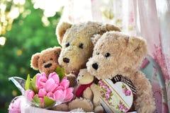 葡萄酒样式玩具熊家庭 免版税库存图片