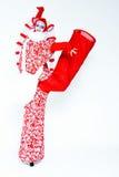 葡萄酒样式的女性小丑 免版税库存图片