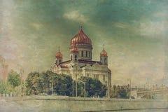 葡萄酒样式的莫斯科大教堂 免版税库存图片