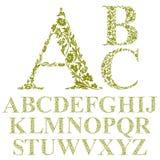 葡萄酒样式花卉信件字体,传染媒介字母表 免版税库存图片