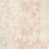 葡萄酒桃红色和奶油色脏的退色的破旧的别致的抽象花卉背景 库存例证