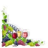 葡萄酒框架用酒和葡萄 图库摄影