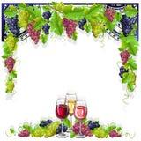 葡萄酒框架用酒和葡萄 库存照片