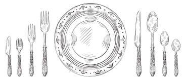 葡萄酒桌设置 手拉的晚餐刀子,剪影板材和刻记利器 餐馆叉子和匙子传染媒介 皇族释放例证