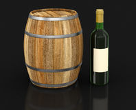 葡萄酒桶和瓶(包括的裁减路线) 图库摄影