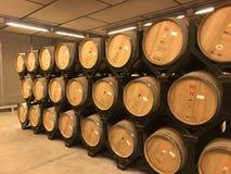 葡萄酒桶在地窖里在波尔图 免版税库存照片