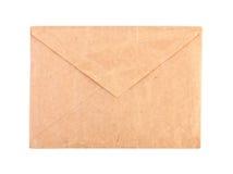 葡萄酒棕色信封被隔绝的特写镜头 免版税库存照片