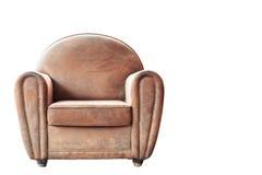 葡萄酒棕色扶手椅子 图库摄影