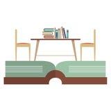 葡萄酒椅子和书橱在巨大的书 免版税库存图片