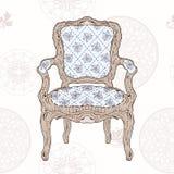 葡萄酒椅子和辐形样式 库存照片
