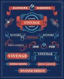 葡萄酒横幅和丝带设计元素 免版税库存图片