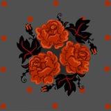 葡萄酒橙色玫瑰和黑leafes在圈子 卡片织品和印刷品提议 现代interpritation老 库存例证