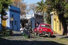 葡萄酒汽车在科洛尼亚德尔萨克拉门托,乌拉圭 免版税库存图片