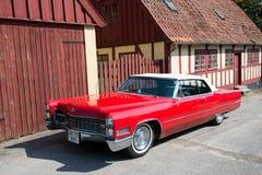 葡萄酒汽车在老镇奥尔胡斯,丹麦 免版税库存图片