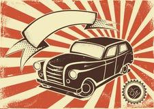 葡萄酒汽车海报模板 免版税库存图片