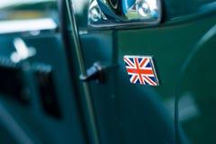 葡萄酒汽车细节-英国国旗徽章 免版税图库摄影