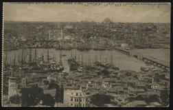 葡萄酒法国明信片君士坦丁堡港口 免版税库存图片