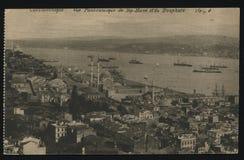 葡萄酒法国明信片君士坦丁堡港口 库存图片