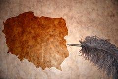 葡萄酒波兰地图 免版税库存照片