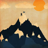 葡萄酒海报冬天滑雪旅游业 风景山 向量 库存图片