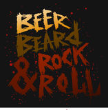 葡萄酒海报啤酒、胡子和岩石滚动-独特的手拉的字法 库存图片