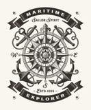 葡萄酒海探险家印刷术一种颜色 库存例证