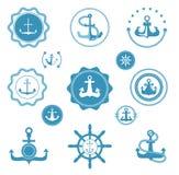 葡萄酒海海洋海洋图表的元素的减速火箭的船锚传染媒介象和标签标志船舶 海洋船锚象征 向量例证