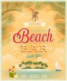 葡萄酒海滩酒吧海报。 免版税库存照片