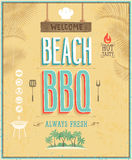 葡萄酒海滩BBQ海报。传染媒介背景。 免版税库存图片
