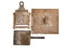 葡萄酒火炉门和壁炉铁 库存照片