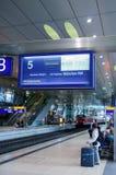 葡萄酒火车信息搭乘板德国 免版税库存照片