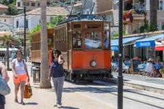 葡萄酒火车,电车在Port de索勒,马略卡 库存照片