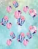 葡萄酒热空气气球样式 免版税库存图片
