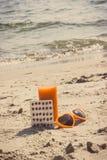 葡萄酒照片、医疗药片、红萝卜汁和太阳镜在海滩、维生素A和美好,持久的棕褐色 免版税库存照片