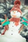 葡萄酒照片、雪人有礼物的圣诞节的或华伦泰针叶树背景的盖了雪 免版税库存图片