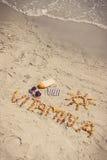 葡萄酒照片、医疗药片、题字维生素A和辅助部件晒日光浴的在海滩,健康,美好和持久的棕褐色 库存照片