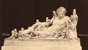 葡萄酒照片尼罗在梵蒂冈博物馆1890 免版税库存照片