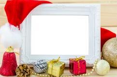 葡萄酒照片框架和圣诞节装饰 免版税库存照片