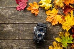 葡萄酒照片照相机和烘干在木背景的叶子 免版税图库摄影