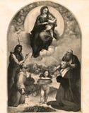 葡萄酒照片福利尼奥Raphael油画的玛丹娜1880-1930 库存照片