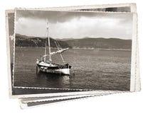 葡萄酒照片老木风帆船 免版税库存图片