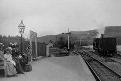 葡萄酒照片蒸汽火车, Llanilar驻地1902年,在Aberys附近 图库摄影