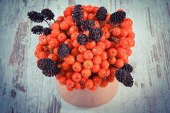 葡萄酒照片,束与桤木锥体的红色秋天花揪在土气木背景 库存照片
