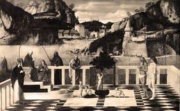 葡萄酒照片1880-1930神圣的讽喻,乔瓦尼・贝利尼,佛罗伦萨,意大利 免版税库存照片